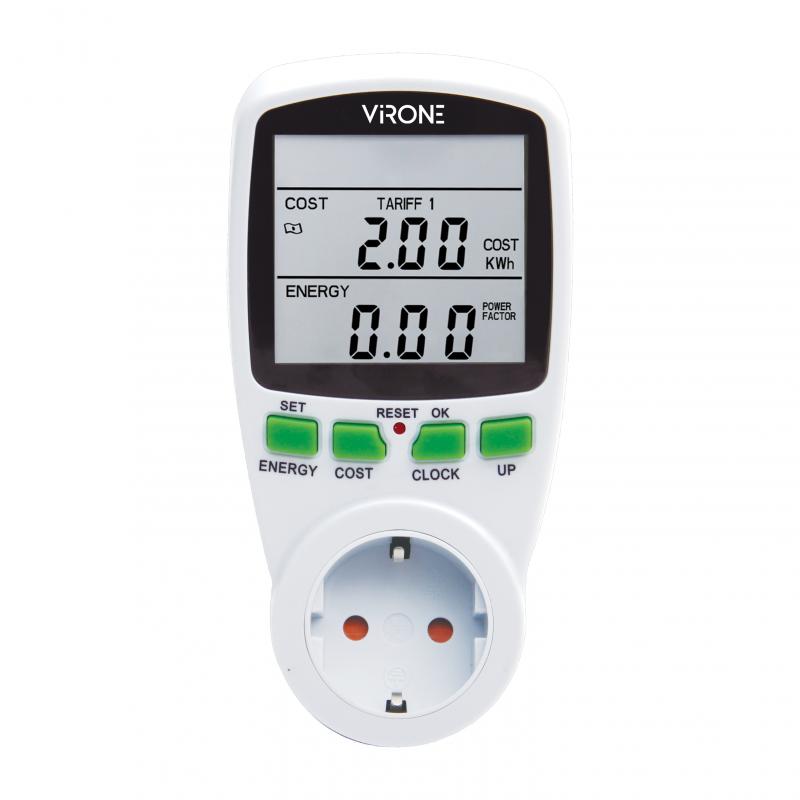 Dwutaryfowy watomierz, kalkulator energii z wyświetlaczem LCD, 2 oddzielne taryfy, wewnętrzny akumulator, wersja Schuko