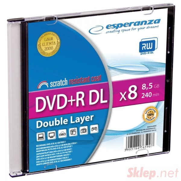 1246 Dvd+r esperanza 8,5gb x8 dl - slim case 1 szt.