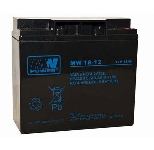 Pb 12V 18Ah bezobsługowy (waga 5.8kg, prąd ład. 1.8A, prąd rozład. 270A)