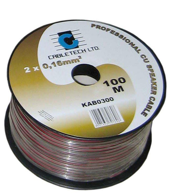 KAB0314 Kabel głośnikowy 1,0mm czarny (rolka 100m)