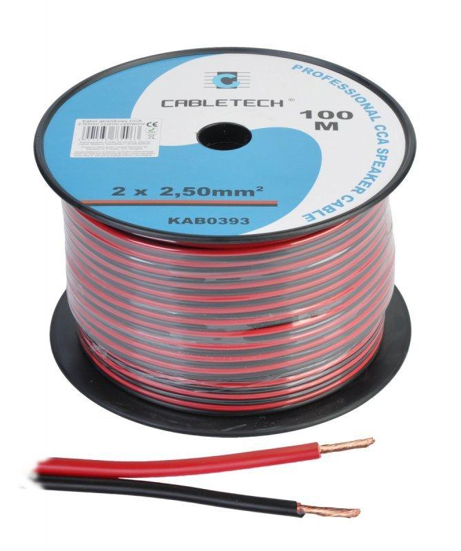 KAB0393 Kabel głośnikowy CCA 2.5mm czarno-czerwony (rolka 100m)