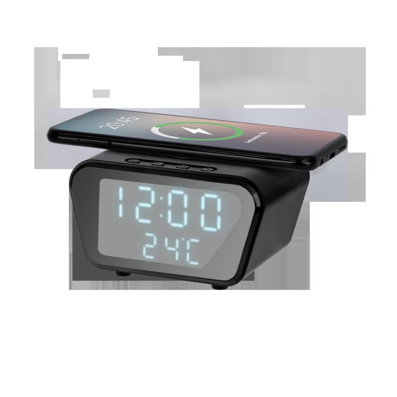 Cyfrowy zegar-budzik z ładowarką indukcyjną (czarny)