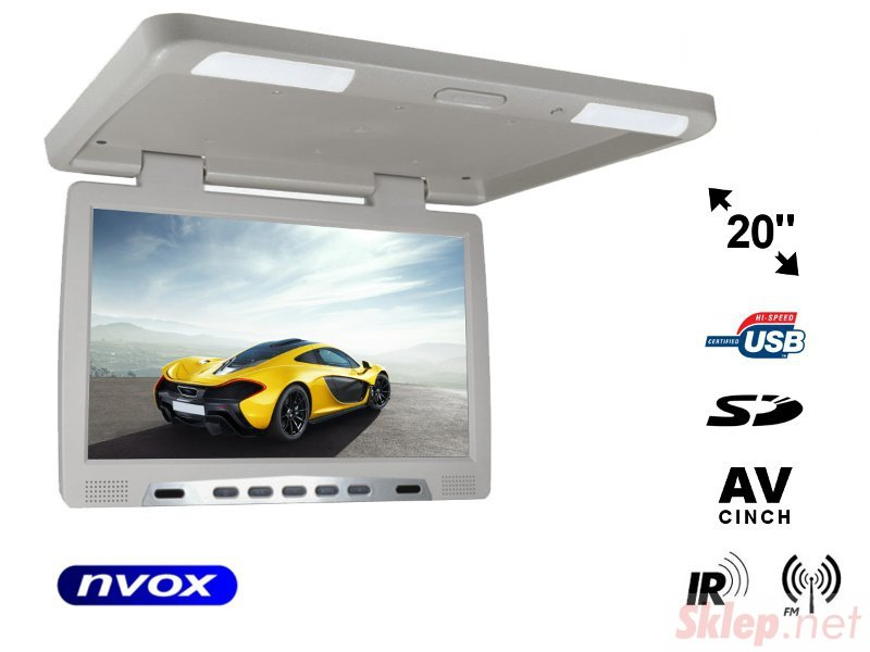 Monitor podwieszany podsufitowy LCD 20cali cali LED IR FM USB SD... (NVOX RF2090U GR)