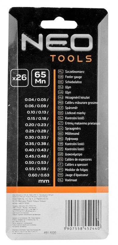 Szczelinomierz 26 listków (0.04 - 0.63 mm) 65MN/stal nierdzewna