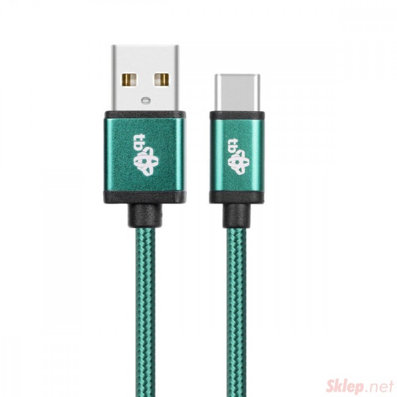 Kabel USB-USB C 1.5m zielony sznurek