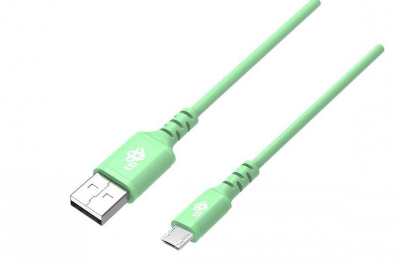 Kabel USB-Micro USB 1m silikonowy zielony