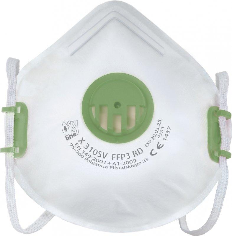 Półmaska filtrująca FFP3 wielorazowa Oxyline X 310 SV RD Maska filtrująca FFP3 wielorazowego użytku