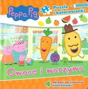 Owoce i warzywa. Puzzle i kolorowanki. Świnka Peppa