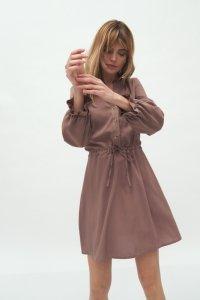 Sukienka Wiskozowa sukienka wiązana w talii w kolorze mocca S171 Mocca - Nife