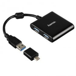 1:4 usb 3.1 hub incl. usb-c adapter, bus-powered, black