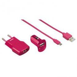 Zestaw ładowarek pico + micro usb fashion różowe