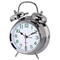 Zegar budzik nostalgia srebrny