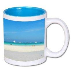 Biały foto kubek z niebieskim środkiem + twoje zdjęcie