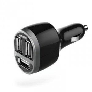 Ładowarka samochodowa z potrójnym złączem USB 5,2A czarna - Hama