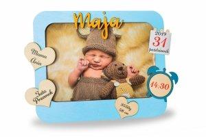 Ramka drewniana - kolorowa metryczka dziecka ze zdjęciem - personalizowana