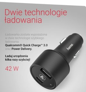 Ładowarka samochodowa USB-A / USB-C - Hama