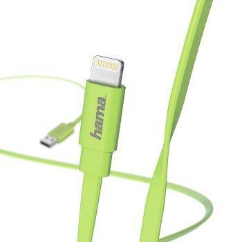 Kabel-do-ladowania-i-synchronizacji-Flat-Lightning-1-2-m-zielony-Hama