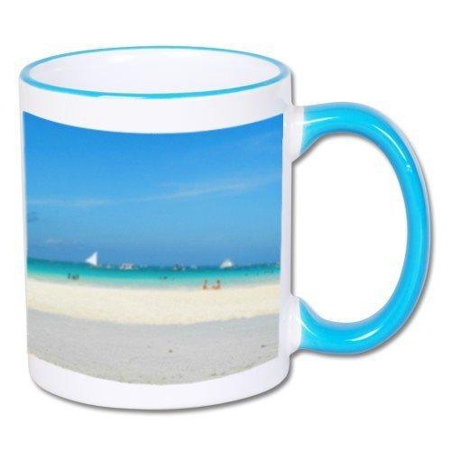 Biały foto kubek z niebieskim uchem + twoje zdjęcie