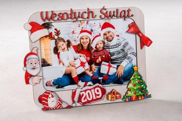 Ramka drewniana świąteczna - WESOŁYCH ŚWIĄT