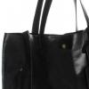 Torba Skórzana Shopper Bag z Kosmetyczką Czarna