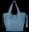 Vittoria Gotti Włoska Torebka Skórzana Shopper Bag z Kosmetyczką Niebieska