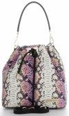 Vittoria Gotti Firmowa Torebka Skórzana Ekskluzywny Shopper Made in Italy w modny wzór kolorowego węża Różowa