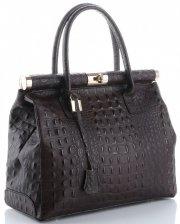 Kožené kabelky kufříky XL vzor Aligátor Genuine Leather čokoládová