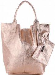 Kožené kabelky Shopper bag Lakované Růžová