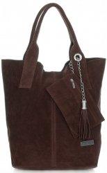 Kožené kabelky Vittoria Gotti Shopper bag čokoláda
