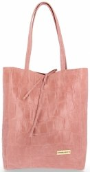 Vittoria Gotti Kožená Italská Kabelka Shopperbag motiv želvy XL Růžová