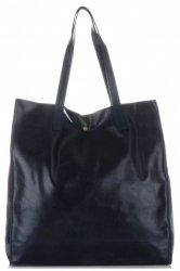 Kožená kabelka Shopper Bags kosmetickou kapsičkou tmavá námořnická