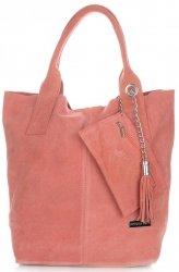 Kožené kabelky Vittoria Gotti Shopper bag barva losos