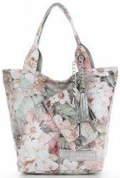 Vittoria Gotti Módní Kožená Kabelka Shopperbag XL květinový vzor Světle šedá