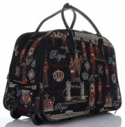 Cestovní taška na kolečkách s výsuvnou teleskopickou rukojetí Or&Mi Royal Multicolor - černá
