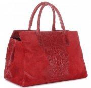 Kožená kabelka kufřík Aligátor červená