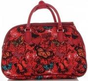 Velká cestovní taška kufřík Or&Mi vzor v motýlech Multicolor - Červená