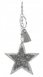 Přívěšek ke kabelce Stars s krystalky a korálky šedá