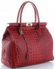 Kožené kabelky kufříky XL vzor Aligátor Genuine Leather červená