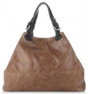 Univerzální kožená italská kabelka Genuine Leather Zemitá