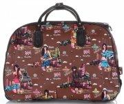 Cestovní taška na kolečkách s výsuvnou teleskopickou rukojetí Or&Mi English Girl Multicolor - hnědá