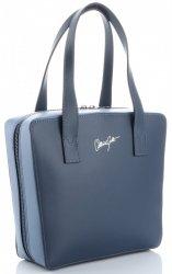 Originální a módní kožená italská kabelka Vittoria Gotti tmavě modrá/světle modrá