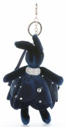 Přívěšek ke kabelce Sametový králík v sukýnce černý