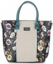 Dámská kabelka kufřík David Jones květovaná Černá