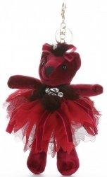 Přívěšek ke kabelce Sametový medvídek v sukýnce vínový