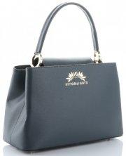Vittoria Gotti Made in Italy Elegantní Dámská kabelka kožená kufřík šedá