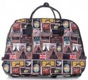 Cestovní taška na kolečkách s výsuvnou teleskopickou rukojetí Or&Mi Poštovní známky Multicolor - hnědá
