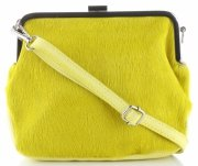 Vittoria Gotti Kožená kabelka listonoška žlutá