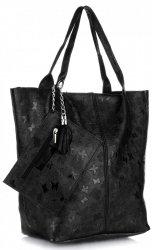 Kožené kabelky Shopper bag Lakované Černá