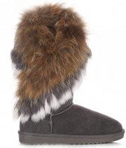 Kožené Dámské boty sněhule mýval/králík šedé