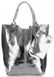 Kožené kabelky Shopper bag Lakované tmavě stříbrná